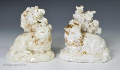 Pair Derby porcelain sheep