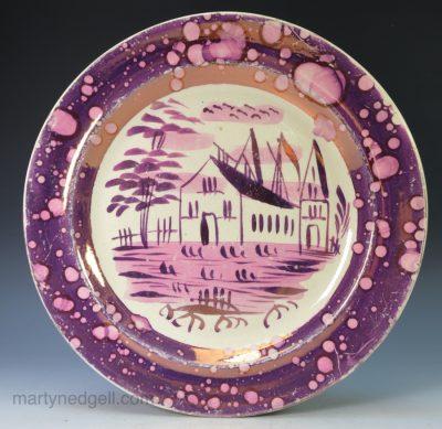 Creamware lustre plate